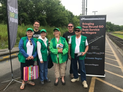 Niagara Falls Ambassadors waiting to greet customers aboard the GO Transit seasonal service train on Saturday, June 23, 2018