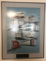 Illustration depicting all the transit vehicle designs Norm Kuster was involved in his career