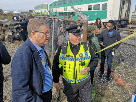 Metrolinx President & CEO Phil Verster attending GO Transit emergency collision exercise Saturday, Sept. 22
