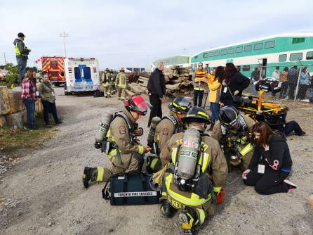 Toronto Fire and EMS on scene during GO Transit emergency collision exercise Saturday, Sept. 22