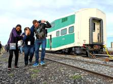 Actors portraying injured passengers during GO Transit emergency collision exercise Saturday, Sept. 22
