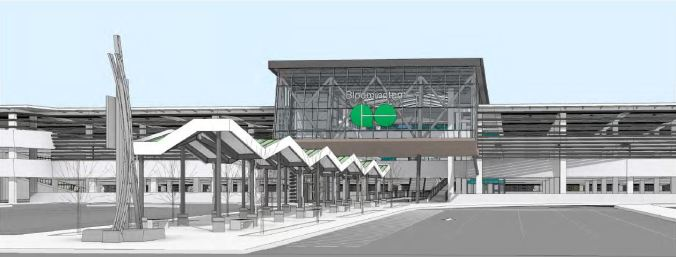 As an artist's concept, the outside of the Bloomington GO station is seen as a moder structure with lots of glass and a large GO sign on the front. It is multi-level.