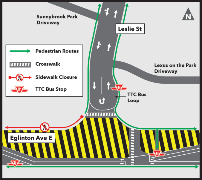 Leslie Street Closure Map - March 28 2019