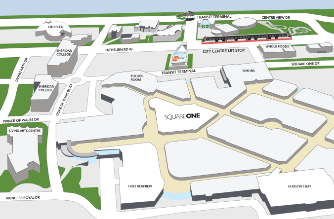 A map showing the placement of the LRT line, near Square One.