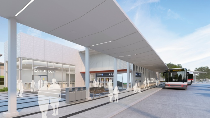 In an artist rendering, buses arrive outside the new station.