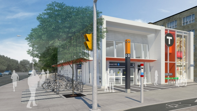 In an artist rendering, the Forest Hill station is shown up close, with bikes parked at the side.