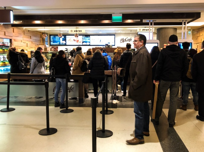 Long line at McCafe in Union Station York Concourse