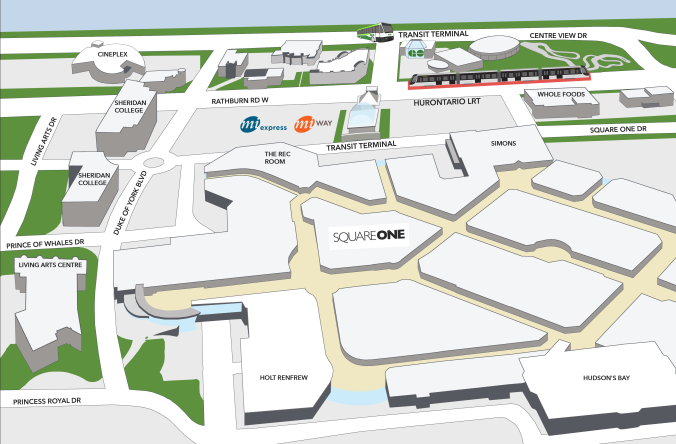 A map showing wheer the stop will be amid the other area buildings.