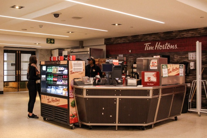 Photo of a Tim Hortons kiosk.