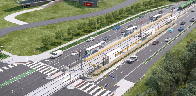 An artist concept shows an above-ground LRT stop, with cars on either side.