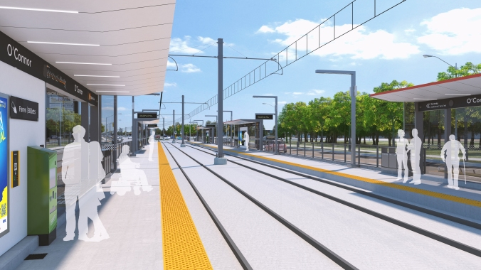 An artist concept shows customers waiting for a light rail transit visit.