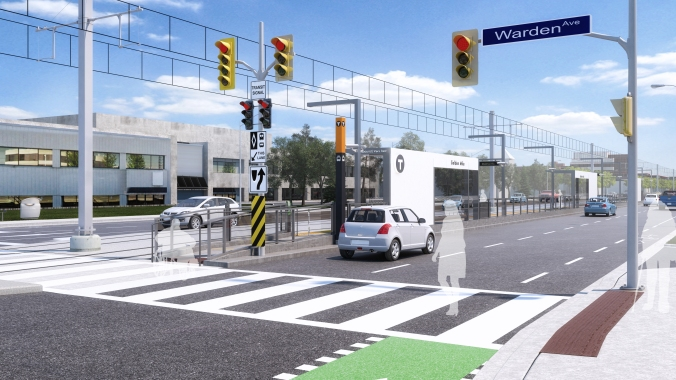 In an artist concept, a customer walks across a crosswalk to get to the Golden Mile light rail transit stop.
