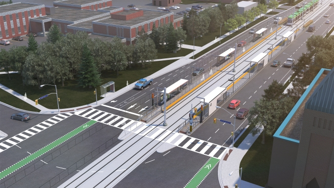 The artist rendering looks down at the surface stop, with an approaching light rail transit vehicle approaching.