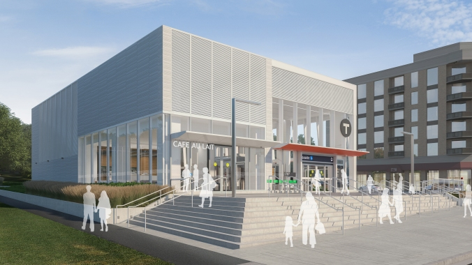 An artist concept shows Leaside Station with steps leading to the main entrance.