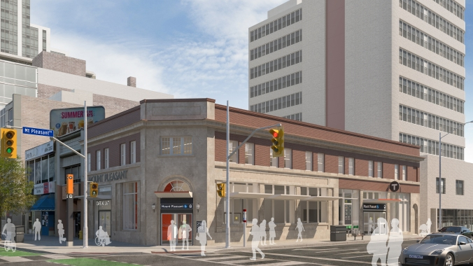 An artist rendering of the station, featuring a front created from old bank bricks.