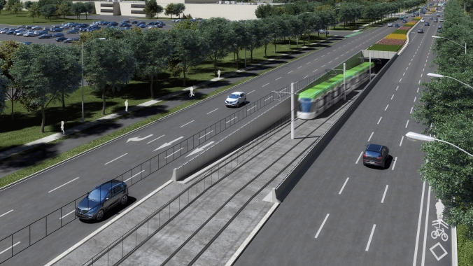 An artist rendering shows a light rail transit vehicle exiting an underground station.