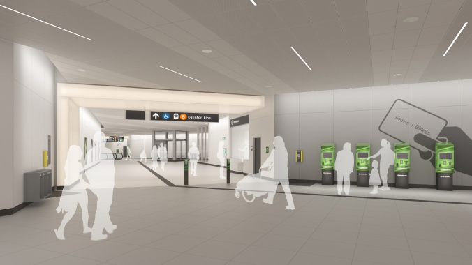 An interior artist concept shows customers heading toward a platform, past a line of PRESTO fare machines.