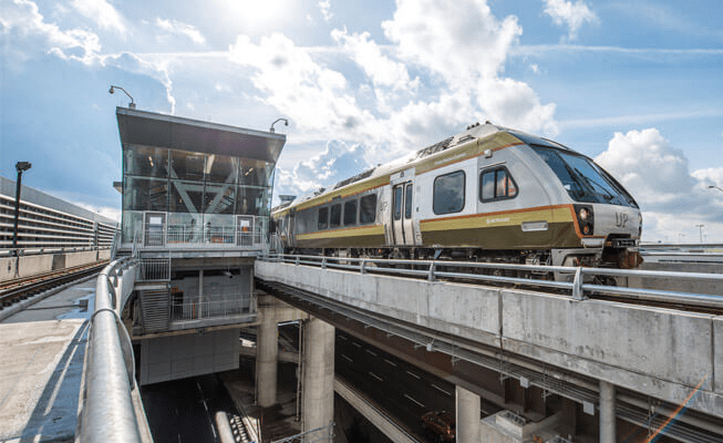 An UP Express train leaves Pearson airport.
