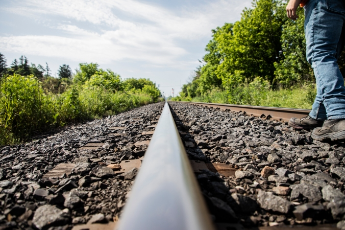 Photo of a long stretch of railway tracks.