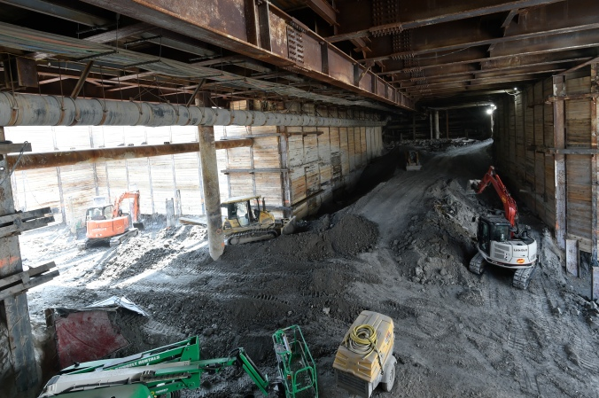 Excavation continues under Cedarvale Station