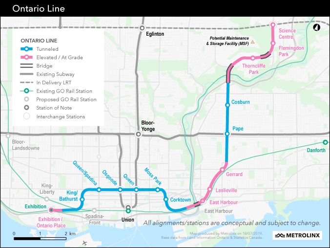 A map of the Ontario Line is shown.