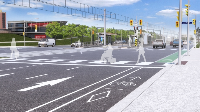 Aerial view of a rendering of Eglinton and Leslie street intersection with the Eglinton Crosstown LRT completed.