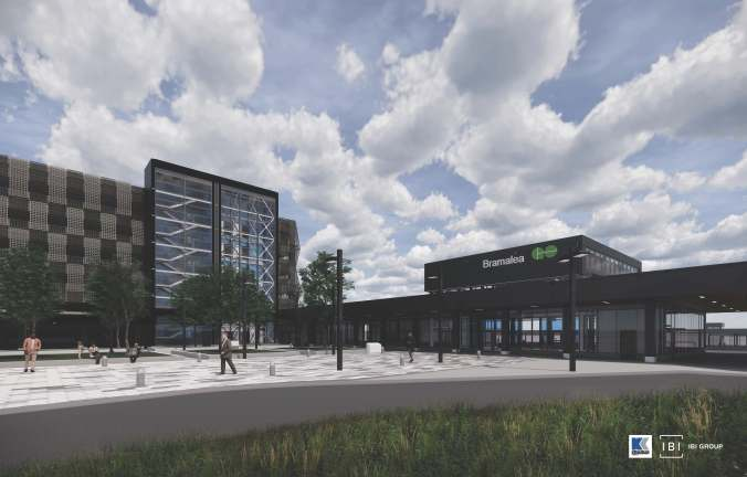 A rendering shows the new parking structure and station.