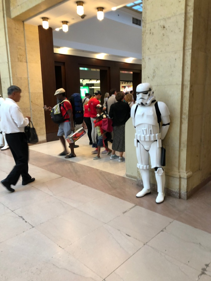 A Storm Trooper stands guard inside Union Station.