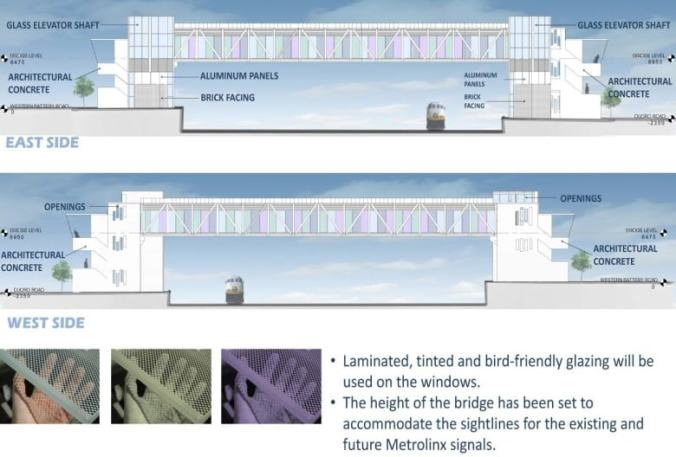 Images shows different elements included in the bridge, including bird-friendly glazing.