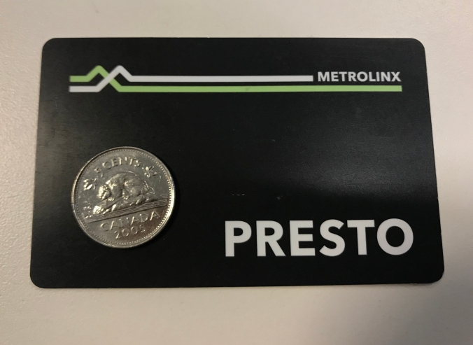 Photo of a PRESTO Card with a nickel on it.