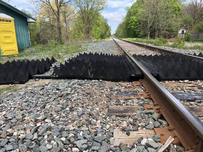 the anti-trespass mats sit next to the tracks