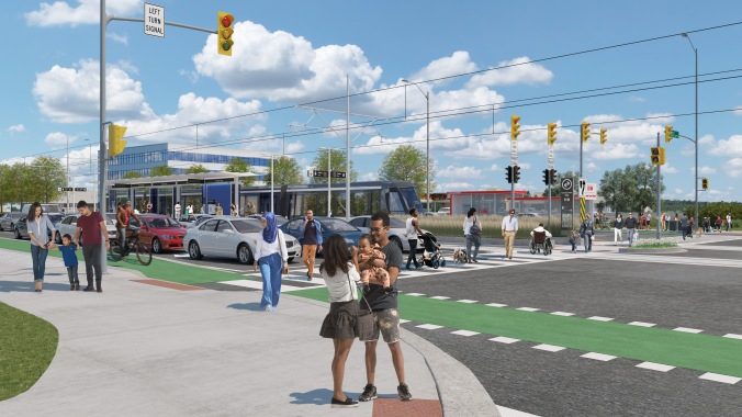 Image shows a rendering of locals walking as a light rail vehicle goes by.