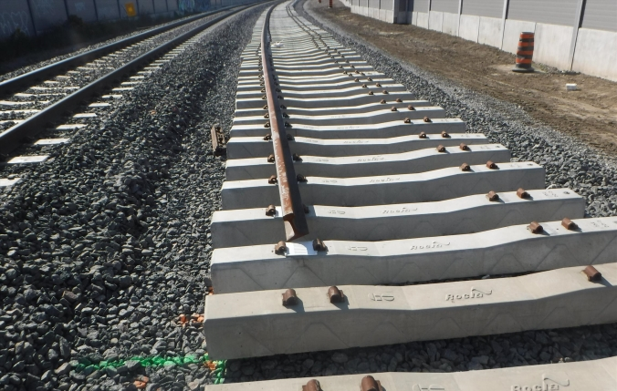 Image shows a new set of tracks being put down.