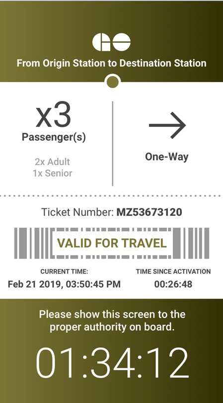 Image shows what an e-ticket looks like.