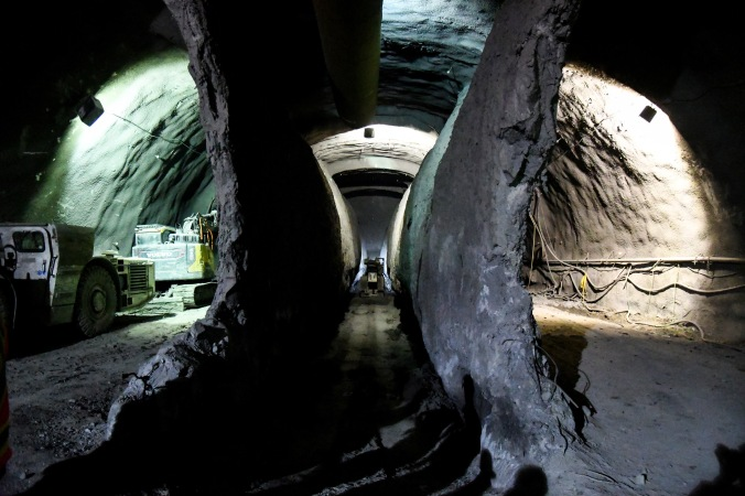 A massive tunnel and cavern underneath Eglinton Avenue where Laird Station is being built