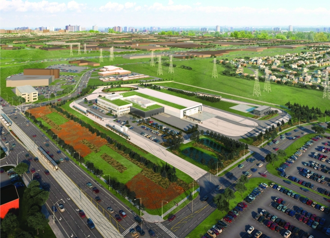 Rendering shows a large facility, next to green space and local roadways.