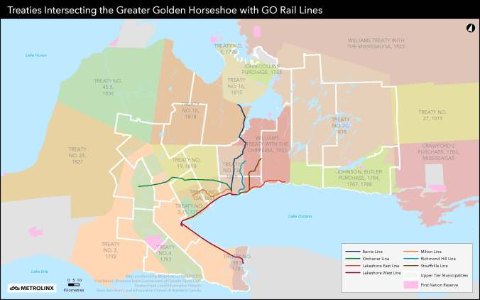 Image shows the Ontario map depicting treaties and GO Transit routes.