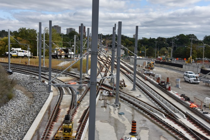 Electrical towers rise from the Crosstown LRT project.