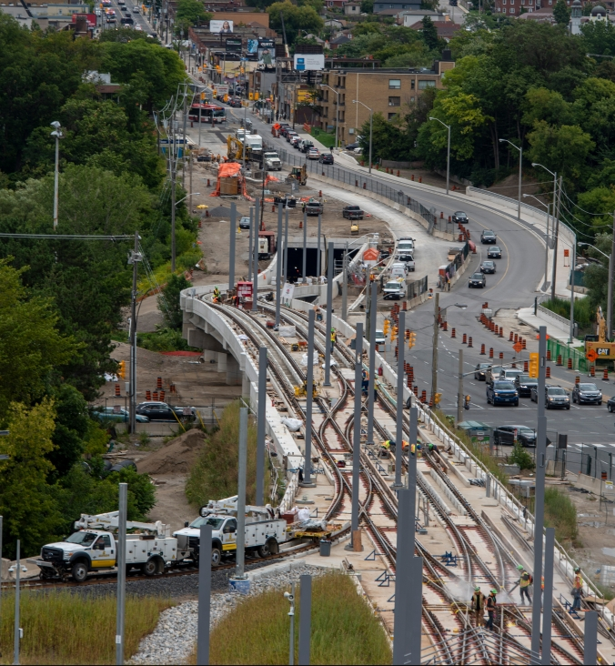 Aerial photo of work on the overhead catenary system on the elevated guideway