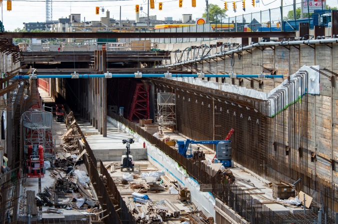 Photo of the construction underneath Kennedy and Eglinton