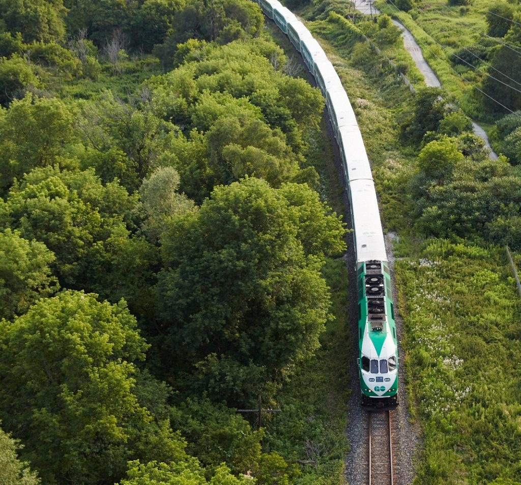A GO train moves through a wooded area, aerial view