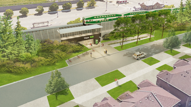 Rendering shows pedestrians making their way toward Maple station.