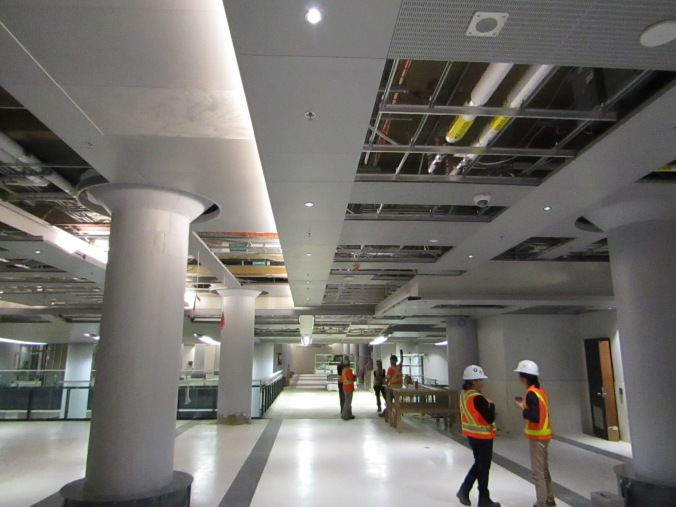 Crews work on a stretch of the concourse.