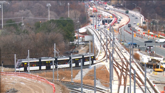 The LRT is seen as it slowly moves onto main tracks.