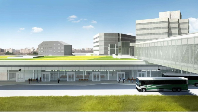 Rendering shows what the Kipling station will look like. A large station, with a bus pulling up in front.