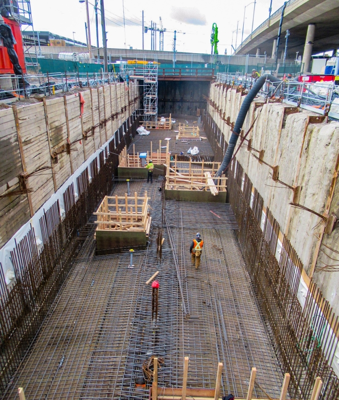 Image shows rebar forming the bottom of the site.