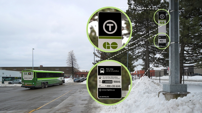 An example of the new universal transit symbol coming to a GO bus stops around the region