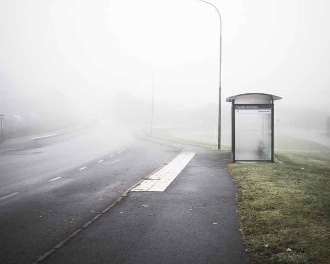 empty road with fog