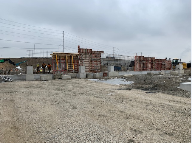 Retaining wall work being done on the new parking structure at Bramalea GO