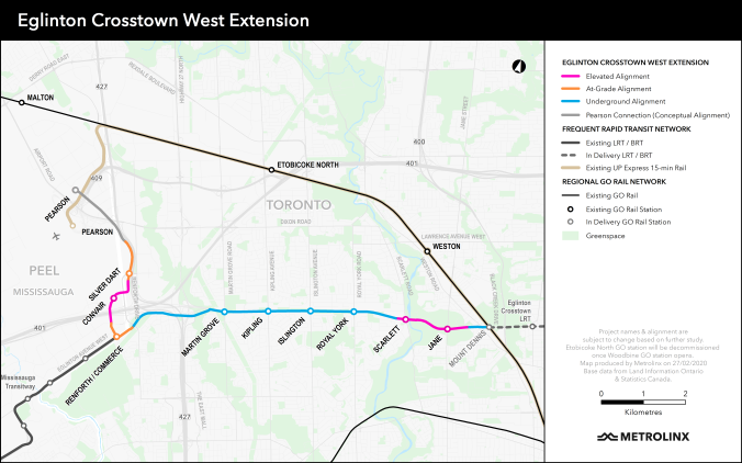 Image shows the Eglinton West LRT extension